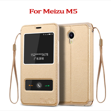Luxury Flip Leather Phone Case For Meizu M5 5.2 Inch Anti-knock Smart Sleep Window Phone Wallet Bag For Meizu M5 M 5 Case