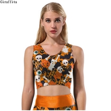 Halloween Skulls Pumpkin Lantern Printing Tank Tops For Women Girls(China)