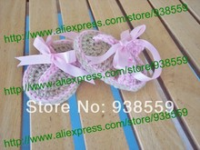 Free shipping Baby Shoe Crochet Shoes Flip Flops with Ribbon Infant Wedding Beach