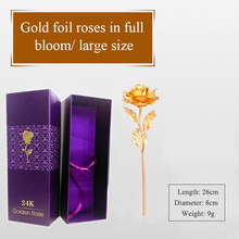 1 Piece Gold Foil Flower Rose Gold Floral Gifts Forever Love Creative Metal Craft Gift for Birthday Mother's Day Valentine's Day(China)