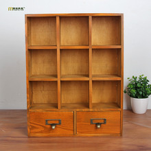 1PC LONGMING HOME Zakka 9 lattice wood storage box with drawer lockers retro wooden display storage box cabinet JL 0942