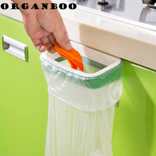 2pcs/set kitchen organizer cupboard door style hanger trash bag holder fall-prevention buckle garbage bag storage rack