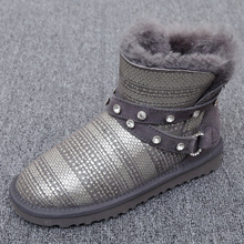 Star of the same paragraph snow boots 2017 autumn and winter new Australian natural sheep skin one female boots free delivery(China)