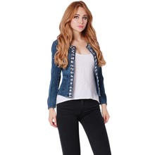 New Spring Lady Jeans Clothing Suits Rhinestone Zipper Punk Female Jackets Women Coat Slim Washed Denim Jackets HO850243(China)