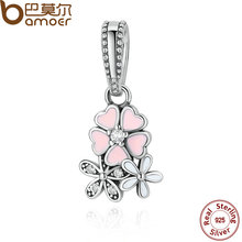 925 Sterling Silver Jewelry Poetic Blooms, Mixed Enamels & Clear CZ Charms Fit Bracelet Bangle Fine Jewelry PAS281(China)