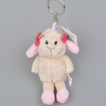 10 cm Lovely Headdress flower sheep Brown HippoPendant Stuffed Plush Keyring, 5 Pcs Key holder / Keychain Gift Free Shipping
