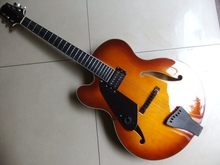Wholesale Left Handed JAZZ Guitar ELECTRIC GUITAR One Pickups SEMI HOLLOW BODY Hot Sale In Sunburst 110801(China)