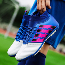 Men Football Boots High Ankle TF Kids Soccer Shoes Children Indoor Futsal Hard Wearing Boy Sock Cleats EUR 33-44 Wholesale(China)