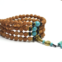 JoursNeige Tibetan KingKong Bodhi Beads 108 Rosary 8mm Round Blue Stone Bracelets Rudraksha Bodhi Seeds Buddha Prayer Japa Mala(China)
