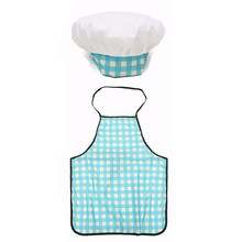 1 Set Children Kids Cook Painting Apron Hat Costume Little Chef Play House Gift Kids  Kitchen DIY Blue Grid Apron