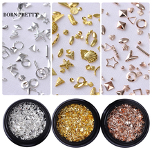 Rose Gold Star Shell Nail Studs Rivet Round Square Triangle Ocean Tips Manicure 3D Nail Art Decorations(China)