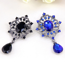 New and fashion Women's Luxury Rhinestone Alloy Brooch Pin Large Waterdrop Pendent Party Jewelry AIUH