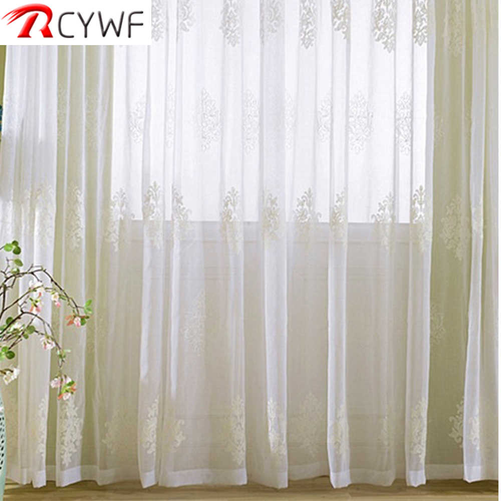Europe White Embroidered Voile Curtains for Living Room Tulle Window Curtains for the Bedroom Sheer Curtains
