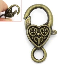 "2016 NEW 20Pcs Lobster Clasps Heart Bronze Tone 26mmx14mm(1""x4/8"") HOT sale New Arrival(China)"