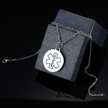"Engraving Stainless Steel Medical Alert ID Necklace Pendant Round Dog Tag with 24"" Chain Jewelry(China)"