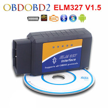 Newest ELM327 Bluetooth OBDII V1.5 ELM 327 CAN-BUS Car Diagnostic Scanner For Android Torque 9 Kinds OBD2 Protocols Free Ship(China)