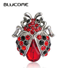 Blucome Vintage Red Ladybug Brooches For Woman Kids Suit Hats Scarf Beatles Brooch Clip Pins Insects Jewelry Small Size Corsage(China)