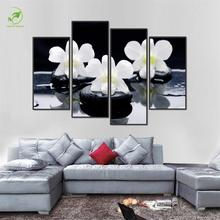Modern 4pcs Frame Flower Pictures Melamine Sponge Board Canvas Prints Oil Painting Black White Flower Paint Living Room Wall Art