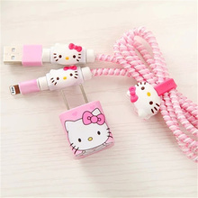Cartoon DIY Wire Rope Protection Cable Winder Spiral Cord Protector Data Line Wire Charger Sticker For iPhone 6 7 Case Cover