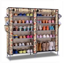 Double row simple shoe cabinet Non-woven dustproof shoes cabinet shoe rack(China)