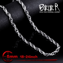 Wholesale 6mm Width Fashion Cool Stainless Steel Man's Cheap Chain Necklace BN1028(China)