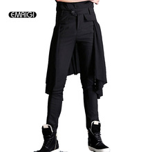 New Men's Punk Style Pants Splice Long Skirt Pants Male Fashion Slim Fit Casual Pants Black Boots Trousers K404