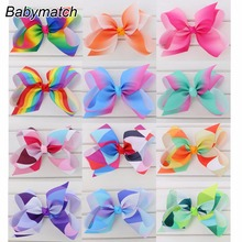 Babymatch 6'' Large Grosgrain Ribbon Rainbow Hair Bows For Kids Teens Boutique Cute Printed Hairbow Without clips Accessories