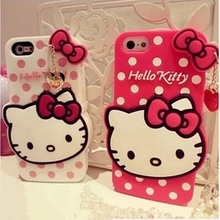 Tengocase 3D Lovely Hello Kitty Soft rubber Cute Phone Case For iPhone 6 6s plus Cartoon Cover For iPhone 7 plus 5 5S SE girl(China)