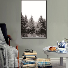 Nordic Scandinavian Winter Snow Trees Abstract Wall Pictures Decor Art Pictures Impressions Canvas Painting Framed As Show(China)