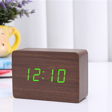 2017 Brown Wood Green Blue Red Word Wooden LED Small Digital Alarm Clock Morden Electronic Desk /Table Child Clock CYP-012