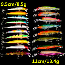 New 18psc/lot Fishing Lures Mixed 2 Different Model Minnows Lure 18 colors Hard Baits Artificial Make Plastic Wobbler Fish bait(China)