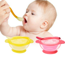 3 PC Set Baby Two Handles Training Feeding Silicone Suction Bowl with Stay-Put Super Suction Base Temperature Sensing Color