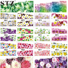 STZ 1 Sheets Full Cover Nail Art Sticker Water Transfer Decals Cartoon Flowers Design Gold & Silver White Styling Wrap A865-888