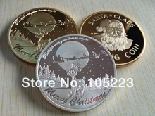 One Troy Ounce SANTA CLAUS and reindeer Rudoph Bring Wishes Silver Coins 500pcs/lot free shipping X'MAS Silver Coins Gift(China)