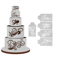 5pcs/Lot Fondant Cake Stencil Food Grade Plastic Cookie Mould Cake Decoration Baking Tools for Wedding Cake(China)