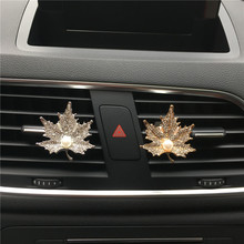Rhinestone Pearl Maple leaves Car perfume Air Freshener Air conditioner air outlet decoration Automobile styling Car Fragrance