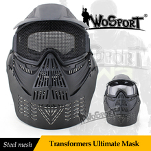 WoSporT Outdoor CS Mask Steel Mesh Full Face Tactical Military War Game Paintball Masks Paintball Accessories