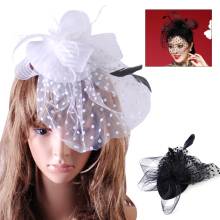 Hair Accessories Fancy Elegant Lady Top Net Mesh Birdcage Veil Feather Fascinator Hairpin Hat Hair Clip for Wedding Church Party(China)