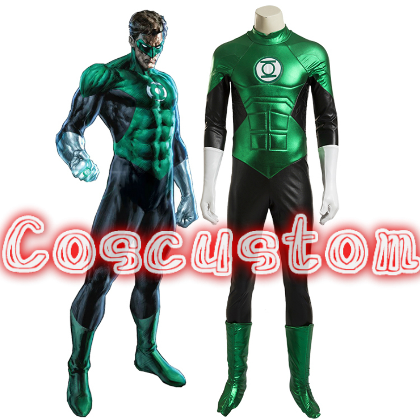 Coscustom High Quality Superhero costume adult Green Lantern costume Halloween costumes for men Green Lantern jumpsuit