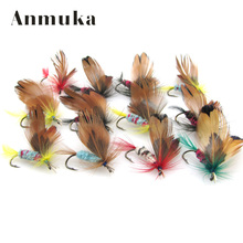 Anmuka 12Pcs 1dozen Fishing Lures Fly fishing Butterfly Hooks Feather bait Hook dry fly hook, Steel Hooks fishing bait 81019
