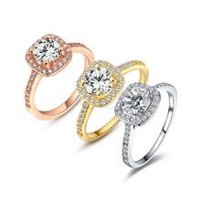 Fashion Rings 18K Gold Rose Gold Platinum Plated AAA Zirconia Environmental Rhinestone Women Jewelry Ring