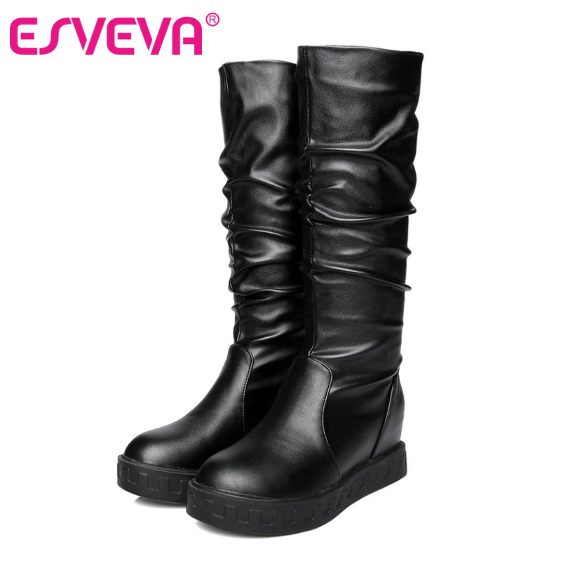ESVEVA  2017 Pleated Mid Calf Boots  PU Leather Women snow  Shoes Wedges High Heel Round Toe Ladies fashion  Boots Size 34-43<br><br>Aliexpress