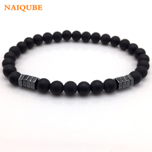 NAIQUBE 2018 New Fashion stone Bead Charm Bracelet Men Jewelry 6mm Matte Bead with Column Hematite Bracelet For Men Gift(China)