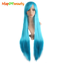 MapofBeauty long Straight Cosplay Wigs Side Oblique Bangs 100cm white brown green pink blue red black Synthetic Hair Peruca