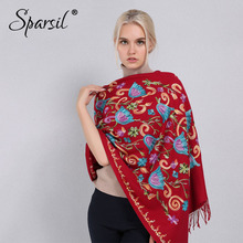 Sparsil Women Cashmere Embroidery Pashmina Long Winter Scarf Soft Tassel Warm Wraps Knitted Floral Female Autumn Scarves(China)