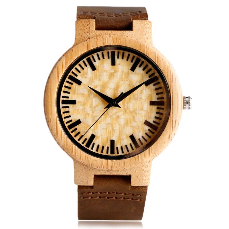 Natural Wooden Watch Fashion White Spot Dial Wristwatch Bamboo Wood Genuine Leather Men Women Quartz-watch Handmade Clock<br><br>Aliexpress