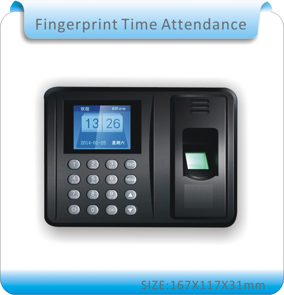Free shipping  Biometric Fingerprint Time Clock Recorder Attendance Employee Digital Electronic  / English voice<br>