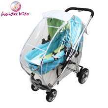 Universal Baby stroller rain cover wind dust shield Pram rain cover with reversible sunshade and pocket stroller accessori es(China)