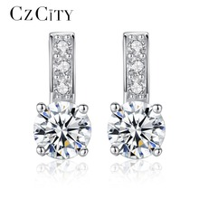 CZCITY Trendy Korean Style 925 Sterling Silver Earrings Small Size Hearts& Arrows Cubic Zirconia Stud Earrings Silver Jewelry(China)