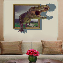 60*90cm 3d dinosaur Wall Stickers Decals for kids rooms Art for Baby Nursery Room christmas gift Decoration Kids Cartoon Poster(China)